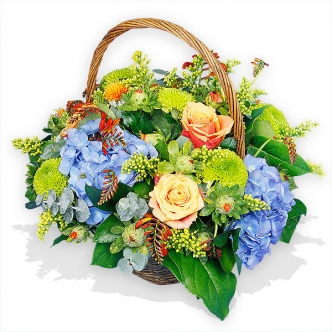Country Basket with Roses and Hydrangeas